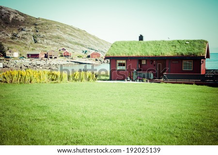 Old traditional house in Norway - stock photo