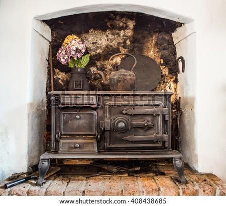 old traditional Irish cast iron fire stove  - stock photo
