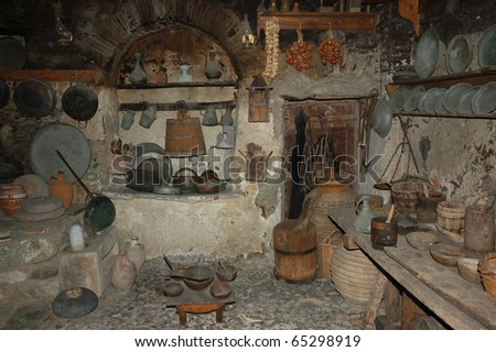 Old traditional kitchen in monastery, Meteora, Greece - stock photo