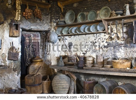 Old traditional kitchen inside a Greek monastery at Meteora - stock photo