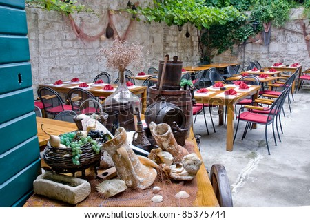 Old traditional restaurant in Croatia - stock photo