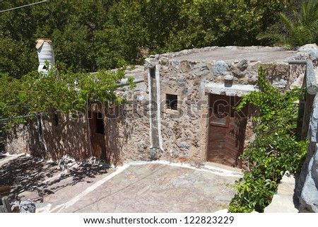 Old traditional settlement at Zakros village of Crete island in Greece. - stock photo