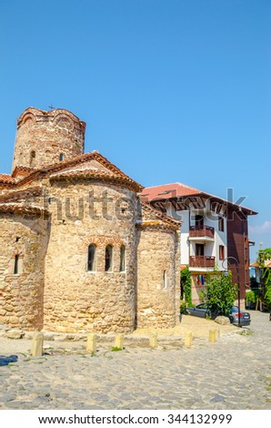 Old traditional street in NESSEBAR, BULGARIA. UNESCO World Heritage Site. Sep 25, 2015