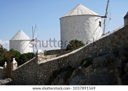 Old traditional windmills in Leros, Dodecanese islands, Greece.