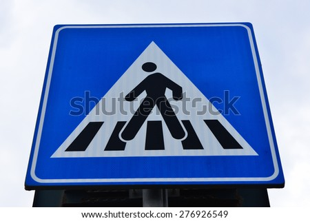 Old traffic sign. pedestrian crossing - stock photo