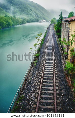 old train at station - stock photo