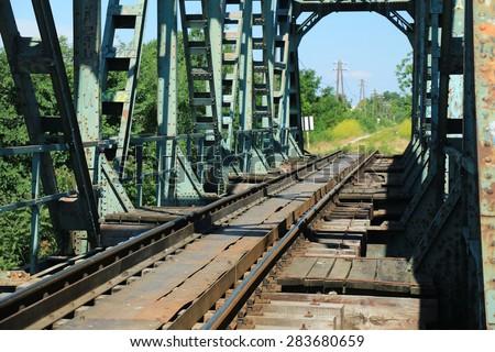 Old train bridge near Zrenjanin - Serbia - stock photo