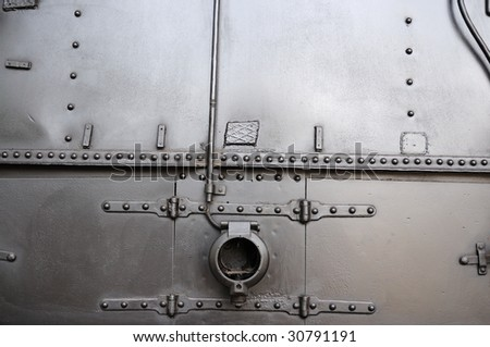 Old train fuselage material - stock photo
