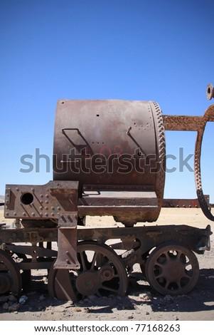 old train in uyuni salar in bolivia - stock photo