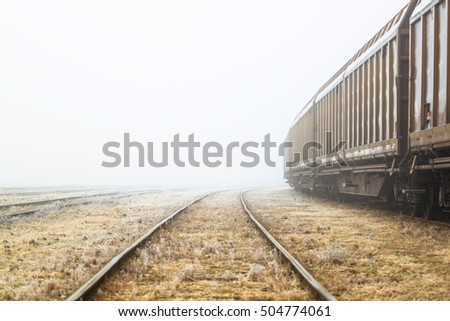 Old train on a misty day