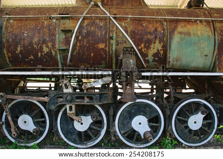 Old train since World War II in Thailand, retro and vintage background