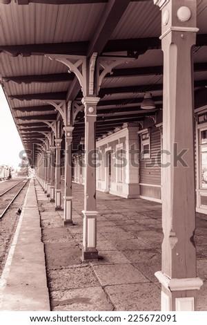 old Train Station in Haapsalu town, Estonia - stock photo