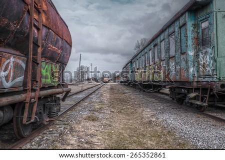 old train wagons - stock photo