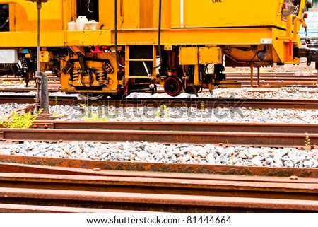 Old trains on the rail steel in thailand - stock photo