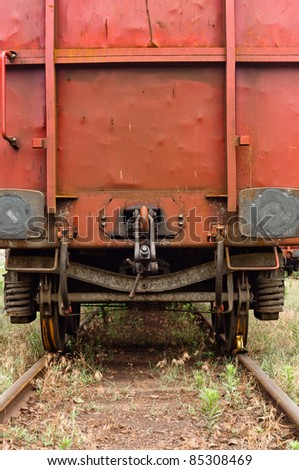 Old trains parking at station - stock photo