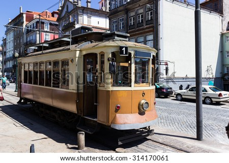 Old tram in Porto, Portugal