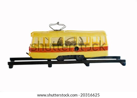 old tram toy - stock photo