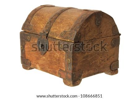 Old Treasure Box on White Background - stock photo