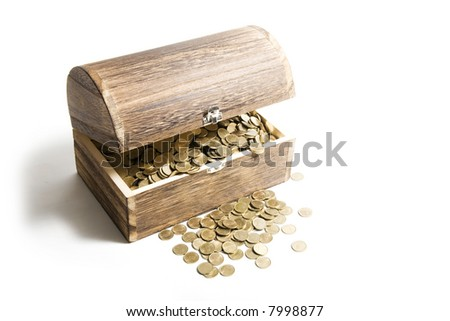 Old treasure-chest full of coins