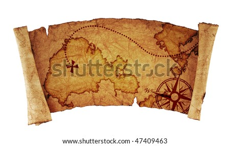 old treasure map, isolated on white - stock photo