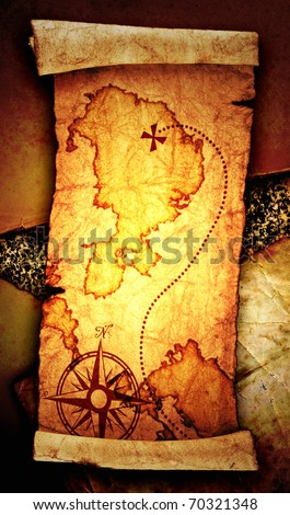 old treasure map, on a vintage background - stock photo