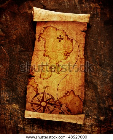 old treasure map,on grunge background - stock photo