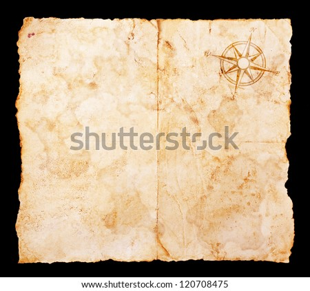Old treasure map with clipping path - stock photo