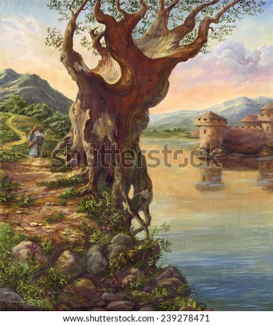 Old tree at water. Sergey Voevodin 1998. Oak on a rocky shore. oil canvas painting - stock photo