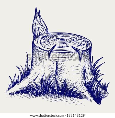 Old tree stump. Doodle style. Raster version - stock photo
