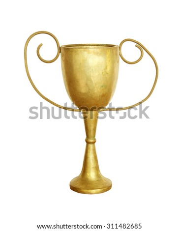 old trophy isolated on white background