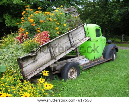 Old truck and flowers. - stock photo