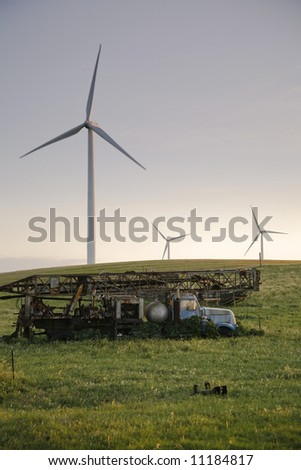 old truck and windmills