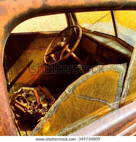 Old truck rusting in peace - stock photo