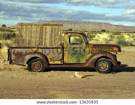Old truck - superimpose your message on the board on the back - stock photo