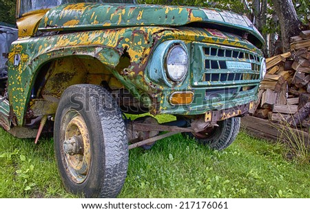 old truck with paint peeling - stock photo