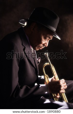 Old Trumpet Player - stock photo