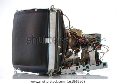 old tube television circuits disassembled - stock photo