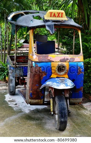 old Tuk Tuk Thailand Car Scooter - stock photo