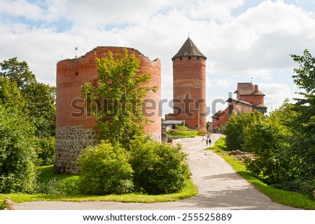 Old Turaida castle in Sigulda, Latvia - stock photo