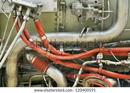 Old turbo jet engine - stock photo