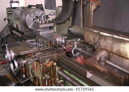 Old turning machine - stock photo