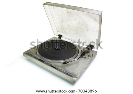 old turntable isolated  on white background