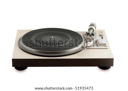 old turntable  on white background - stock photo