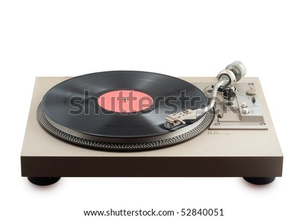 old turntable with vinyl record having blank label - stock photo