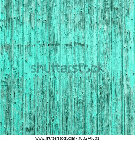 Old turquoise blue wooden background. Shabby chic wallpaper texture - stock photo