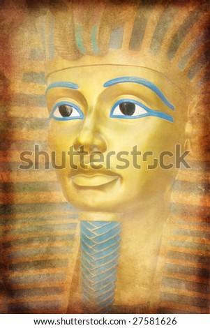 Old Tutankhamon mask - stock photo