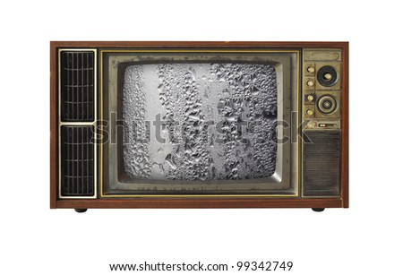 Old TV and abstract of the screen. - stock photo