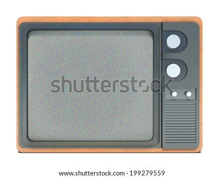 old TV and noise on the screen - stock photo
