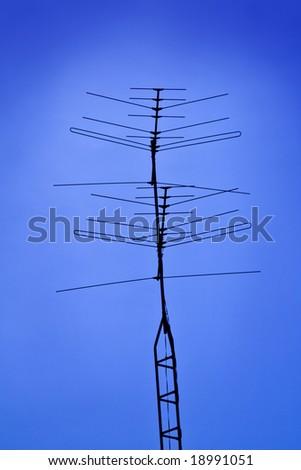 Old TV antenna - stock photo