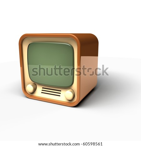 old TV icon on white background - stock photo